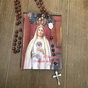 Wooden beaded and silver rosary